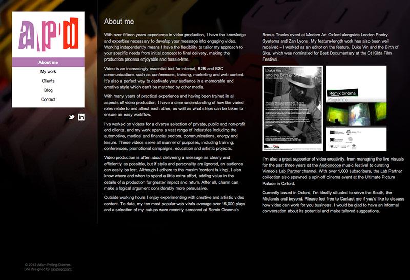 Adam Pelling-Deeves website