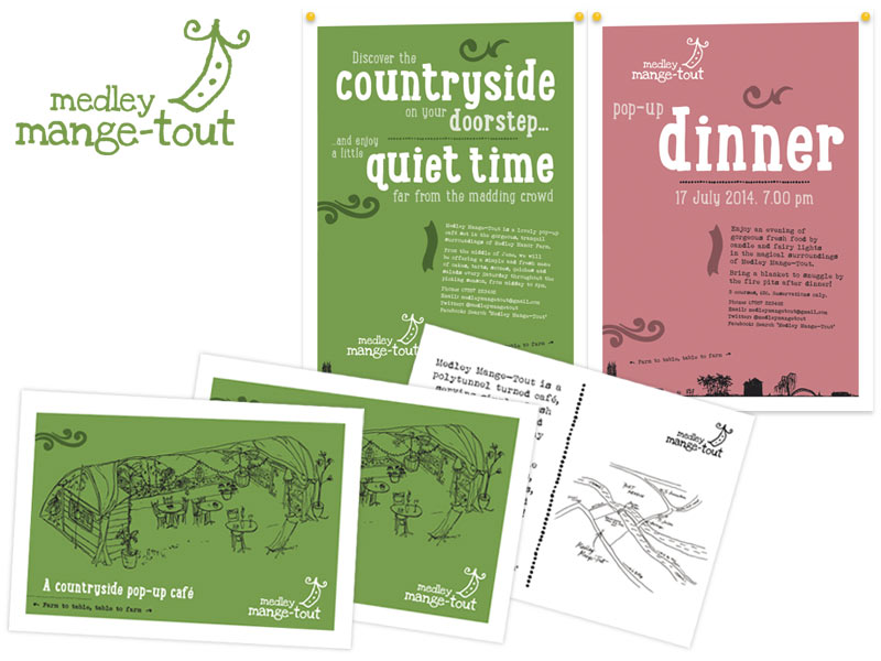 Medley Mange-Tout logo, posters and postcard