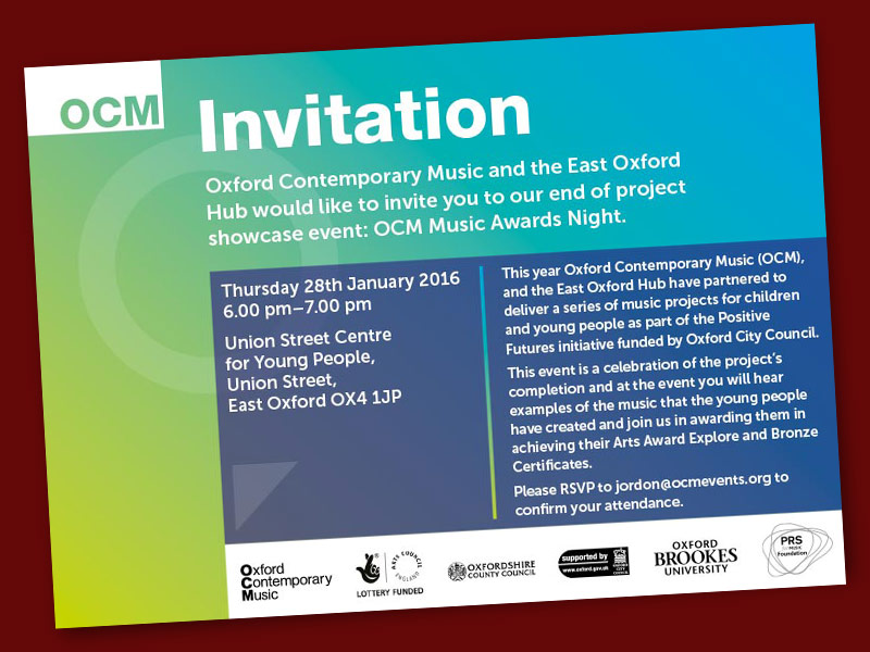 OCM Music Awards Night invitation