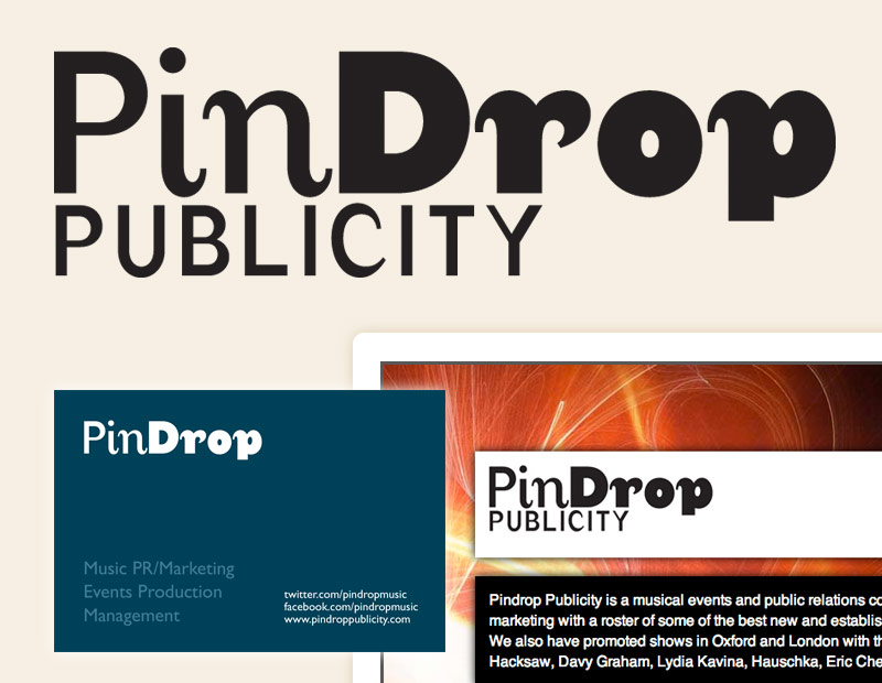 Pindrop Publicity logo, business card and website