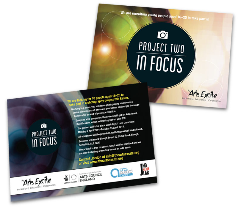 'Project Two: In Focus' promotional postcard
